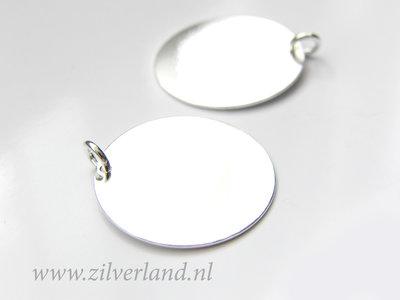 22mm-0,50mm Sterling Zilveren Hanger- Rond