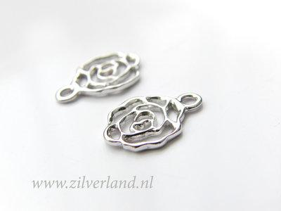 1 Stuk Gerhodineerd Sterling Zilveren Hanger- Roos