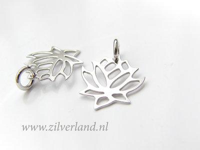 1 Stuk Gerhodineerd Sterling Zilveren Hanger- Lotusbloem