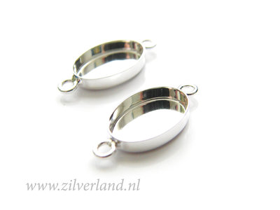 - 14mm Sterling Zilveren Connector voor UV Hars/Resin of Cabochons- Ovaal