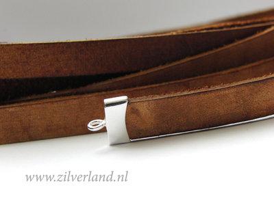 20cm Plat Leerkoord Vintage- Donkerbruin