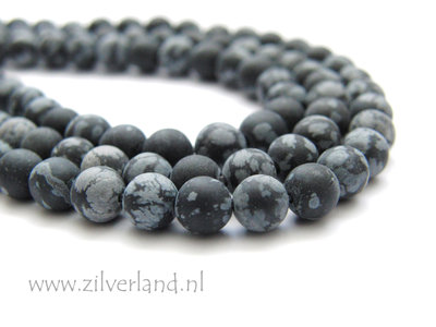 6mm Sneeuwvlok Obsidiaan Edelstenen Kralen- Mat