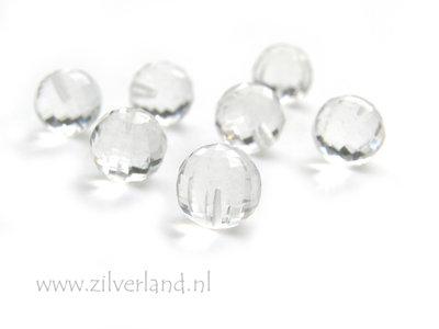 1 Stuk 10mm Facet Geslepen Bergkristal Kraal- Half Geboord Gat