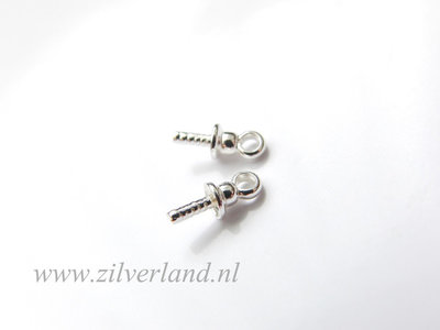4 Stuks 3mm Sterling Zilveren Kraalhanger, Parelschotel