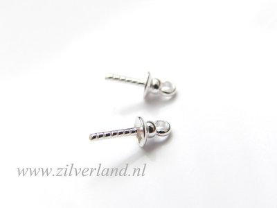 4 Stuks 4mm Sterling Zilveren Kraalhanger, Parelschotel