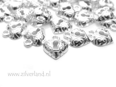 1 Stuk Sterling Zilveren Bedel- Hart Slotje