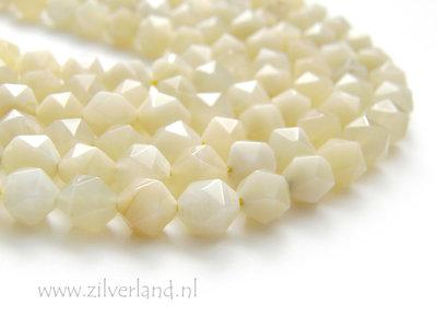 8mm Witte Maansteen Edelstenen Kralen- Facet