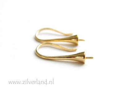Sterling Zilveren Oorhaken met Kapje met Pin- Verguld