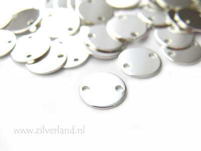 9mm-0,50mm Sterling Zilveren Connector- Rond