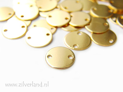 9mm-0,50mm Sterling Zilveren Connector- Rond Verguld