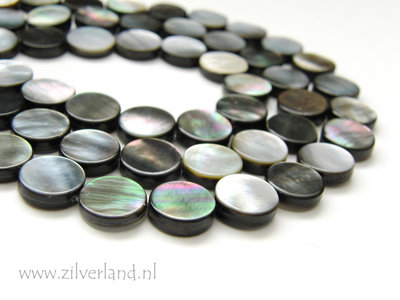 12mm Black Shell Kralen- Coin
