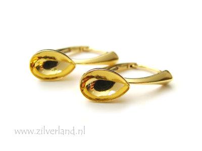 Sterling Zilveren Oorhaken voor UV Hars/Resin of 10mm Swarovski Druppel- Verguld