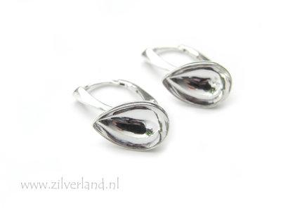 Sterling Zilveren Oorhaken voor UV Hars/Resin of 14mm Swarovski Druppel