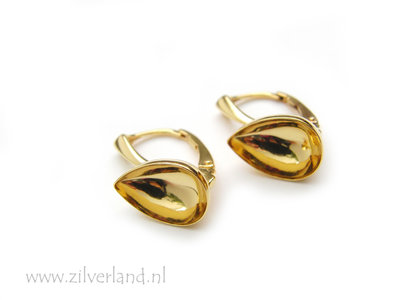 Sterling Zilveren Oorhaken voor UV Hars/Resin of 14mm Swarovski Druppel- Verguld