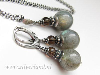 -Sieraden Set- Sterling Zilveren Oorbellen en Ketting met Labradoriet