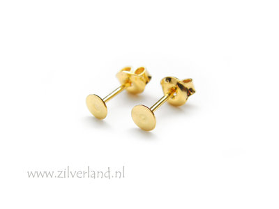 Sterling Zilveren Oorstekers 4mm- Verguld