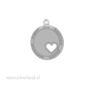 Sterling Zilveren Hanger met Hart- Love, Happiness Gerhodineerd
