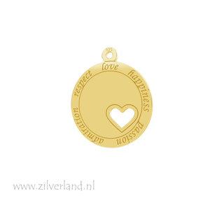Sterling Zilveren Hanger met Hart- Love, Happiness, Verguld