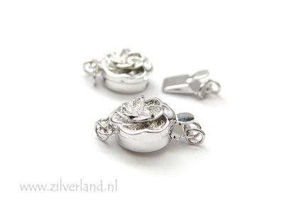 Sterling Zilveren Bakslot Bloem met Pin- 2 Rij