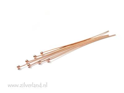 10 Stuks 0,5mm x 5,0cm Sterling Zilveren Nietstiften- Rose Verguld
