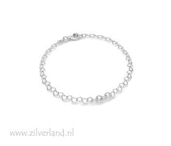 15,5cm Sterling Zilveren Armband- Hartjes