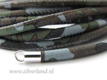20cm Gestikt 4mm Suede Leerkoord- Camouflage Lichtblauw