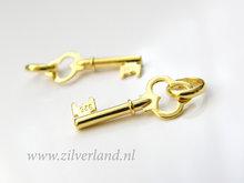 1 Stuk Sterling Zilveren Hanger- Sleutel Verguld