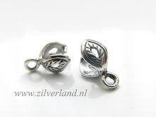 Sterling Zilveren Hangerklem- Blaadje Geoxideerd