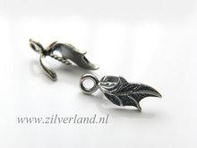 Sterling Zilveren Hangerklem met Pin- Blaadje Geoxideerd