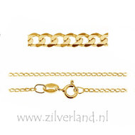 1,35mm Sterling Zilveren Collier Gourmet- 45cm- Verguld