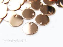 9mm-0,50mm Sterling Zilveren Hangertje/Sieradenlabeltje- Rose Verguld