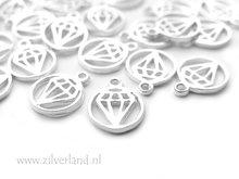 Sterling Zilveren Hangertje- Diamant