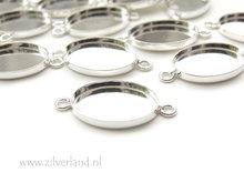 18mm Sterling Zilveren Connector voor UV Hars/Resin of Cabochons- Ovaal