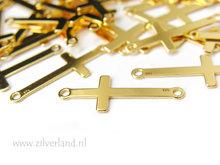Sterling Zilveren Hanger/Connector- Kruis Verguld
