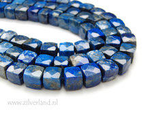 8-9mm Lapis Lazuli Kubus Kralen- Facet