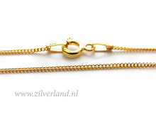1,0mm Sterling Zilveren Collier Gourmet- 45cm- Verguld